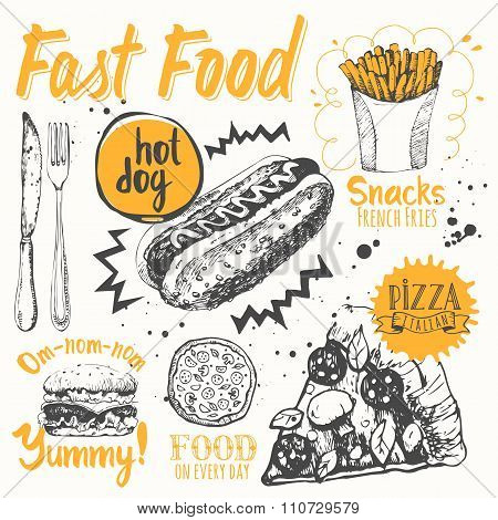 Fast food party. Vector illustration of festive traditional American food.