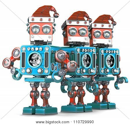 Group Of Santa Robots. Christmas Concept. Isolated. Contains Clipping Path