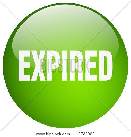 Expired Green Round Gel Isolated Push Button