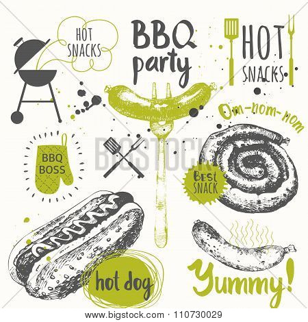 BBQ party. Vector illustration of festive traditional American food.
