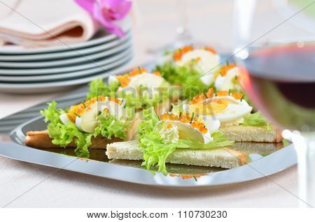 Cheese caviar toast