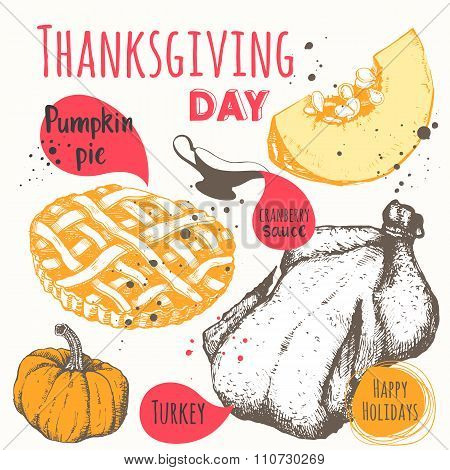 Thanksgiving day. Vector illustration of festive traditional food.