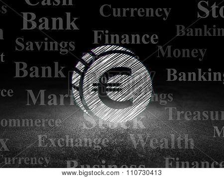 Money concept: Euro Coin in grunge dark room