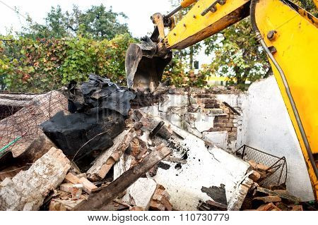 Bulldozer Bucket Or Scoop Working On Construction Site