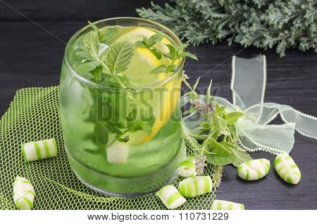 Homemade Mojito In A Glass On With Mint Candy