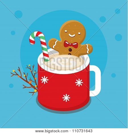 Gingerbread cookie man in a hot cup