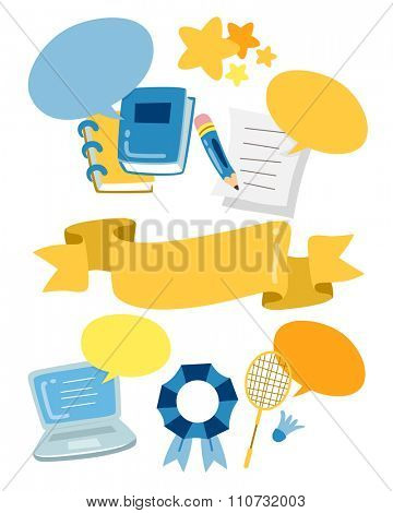 Grouped Illustration of Ready to Print Stickers for School