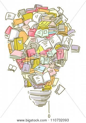 Illustration of a Collection of Books Forming the Shape of a Lightbulb