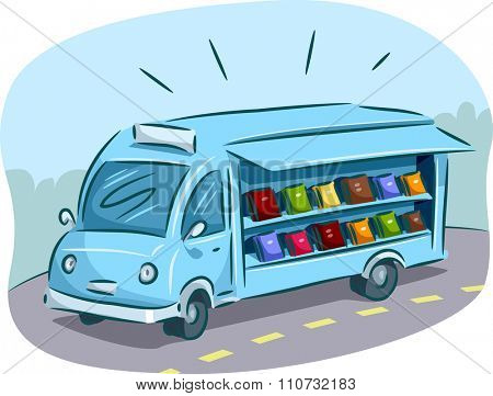Illustration of a Mobile Library Filled with Books Driving Around Town