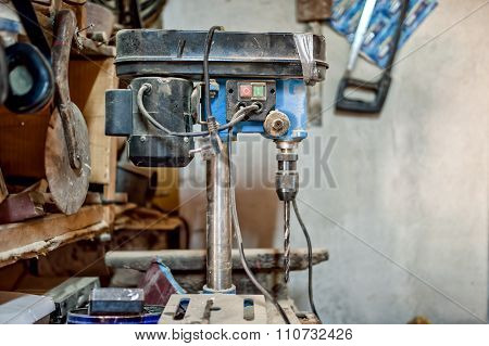 Vertical Drilling Machine In Vintage Workshop