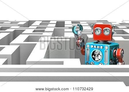 Retro Robot In A Maze. Technology Concept. 3D Illustration