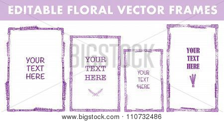 Set of vector floral hand drawn frames.