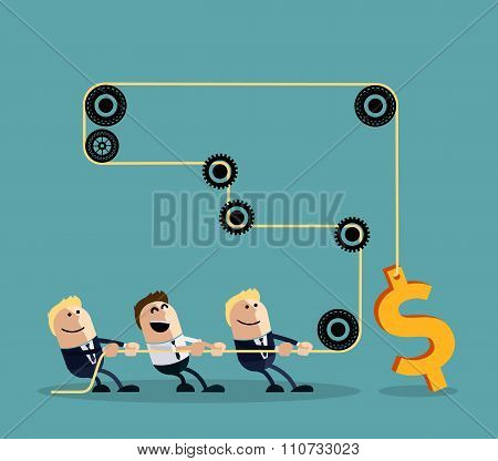 Happy businessman pulling rope with dollar