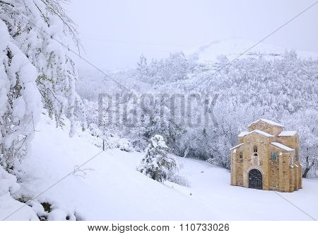 Abandoned Building In Snowy Forest