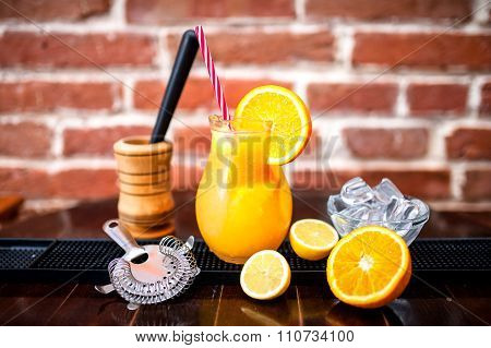 Orange Lemonade As Fresh Summer Drink, Nonalcoholic Refreshments