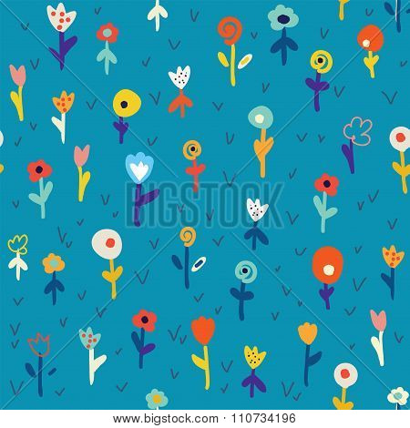 Floral Seamless Pattern With Simple Design