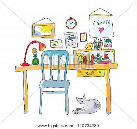 Home Workplace For Designer Sketch - Interior Hand Drawn Illustration