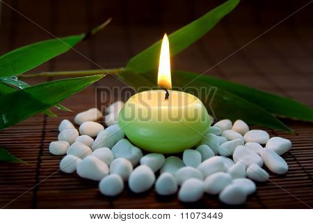 Flaming Candle With Stones