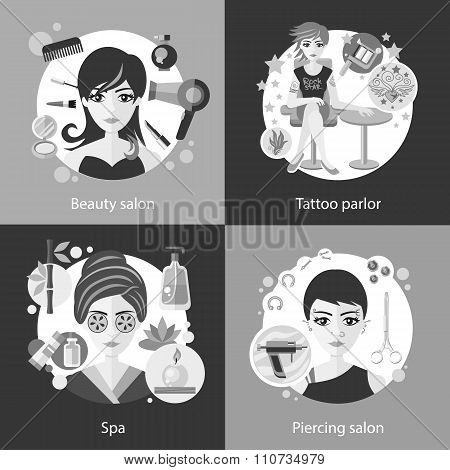Set of Salons, Beauty Tattoo, Piercing