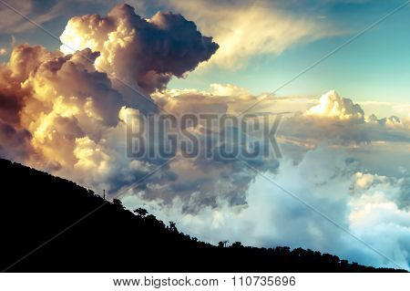 Dramatic Clouds Over Troodos Mountains. Cyprus