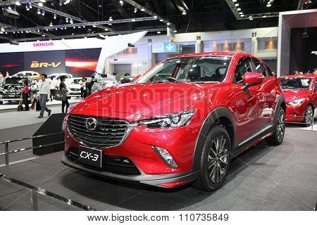 Bangkok - December 1: Mazda Cx-3 Car On Display At The Motor Expo 2015 On December 1, 2015 In Bangko