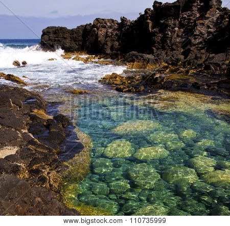 Cloudy  Beach    Water   Lanzarote  Isle   Rock Spain   Stone Sky