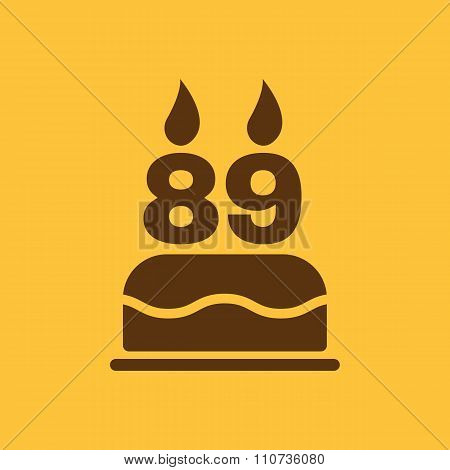 The birthday cake with candles in the form of number 89 icon. Birthday symbol. Flat