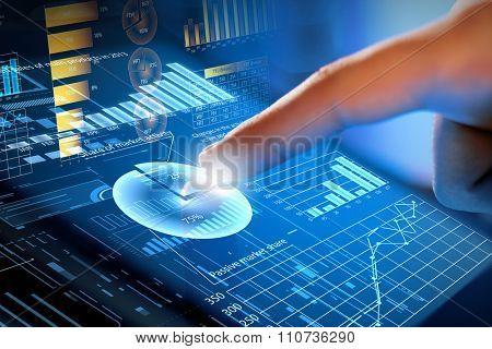 Close up of human hands using virtual panel