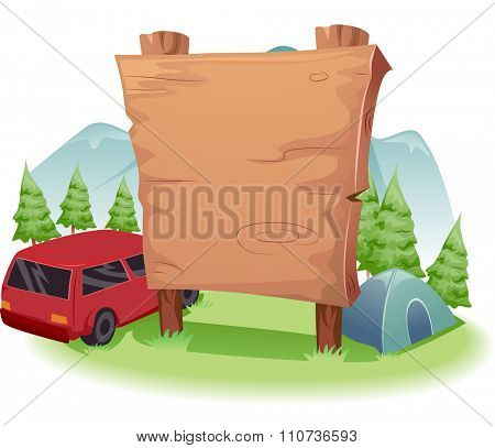 Illustration of a Blank Wooden Board Standing Near the Entrance of a Camp Site