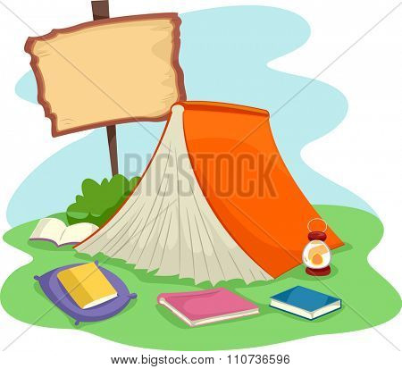 Illustration of a Giant Book Spread Like a Tent