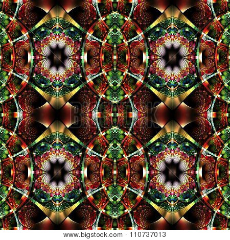 Beautiful Fractal Pattern With Shiny Strips. Collection -  Rhinestones. Artwork For Creative Design,