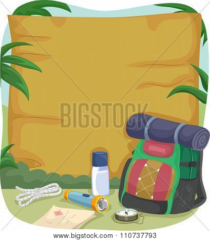 Illustration of a Blank Wooden Sign with Camping Gear Sitting Beside It