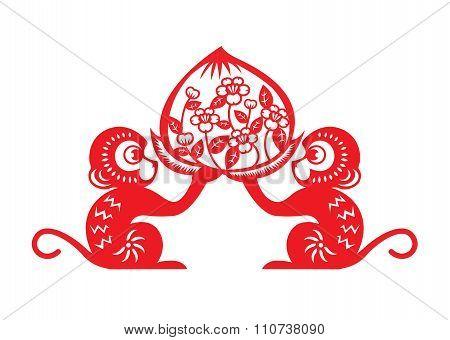 Red paper cut monkey zodiac symbol (2 monkey holding peach)