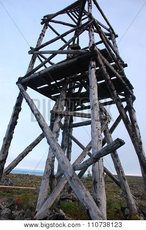 Timber Triangulation Tower At Tundra Russia