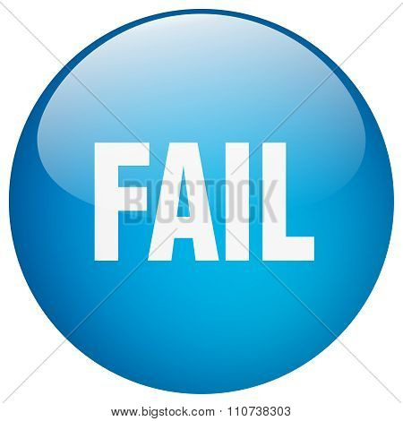 Fail Blue Round Gel Isolated Push Button