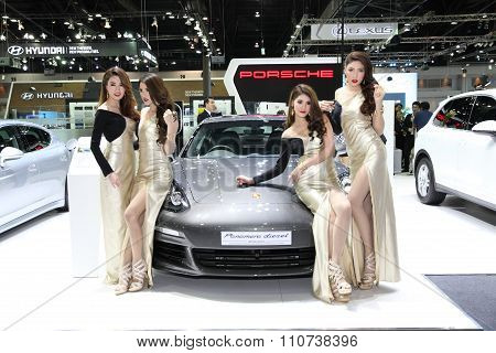 Bangkok - December 1: Porsche  Panamerd Diesel With Unidentified Model On Display On Display At The