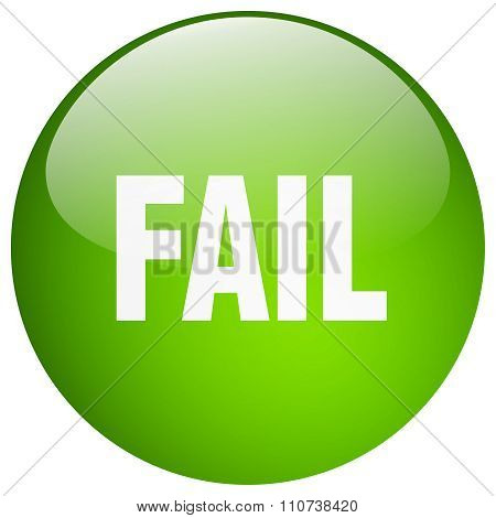 Fail Green Round Gel Isolated Push Button