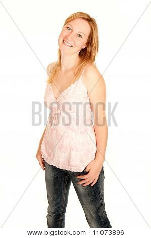 Young Woman In Pink Shirt And Jeans