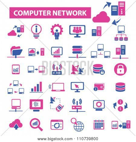 computer network, connection, hosting, database, PC  icons, signs vector concept set for infographics, mobile, website, application