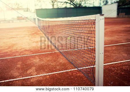 Tennis Court On A Sunny Summer Day