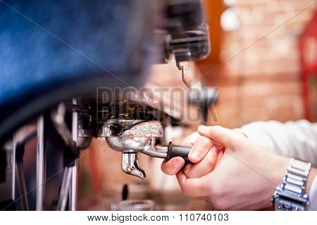 Barman Using A Tamper And Making Espresso Coffee
