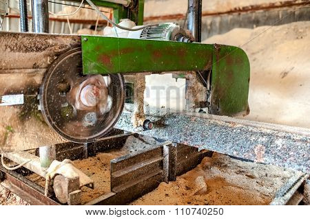 Industrial Wood Production Factory - Close-up Of Band Saw Sawmill