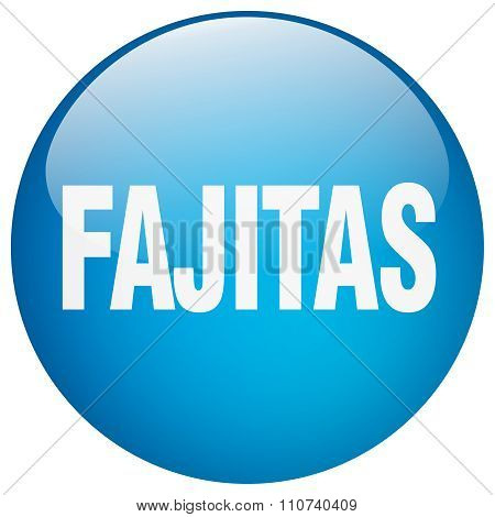 Fajitas Blue Round Gel Isolated Push Button