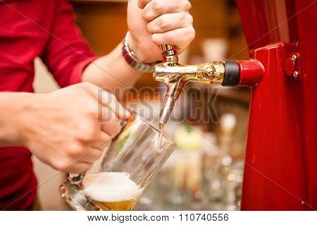 Bartender Pouring Beer Draft In Pub, Bar Or Nightclub