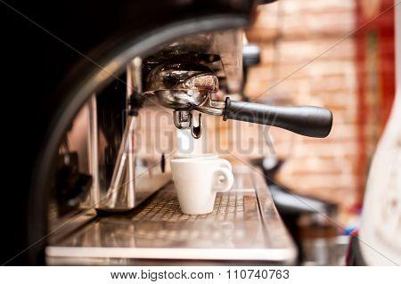 Machine Preparing Espresso In Coffee Shop Or Bar