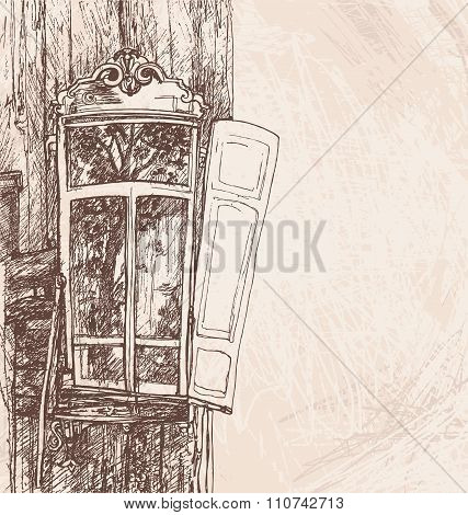 Hand Drawing Wooden Window Retro Style Vector Illustration