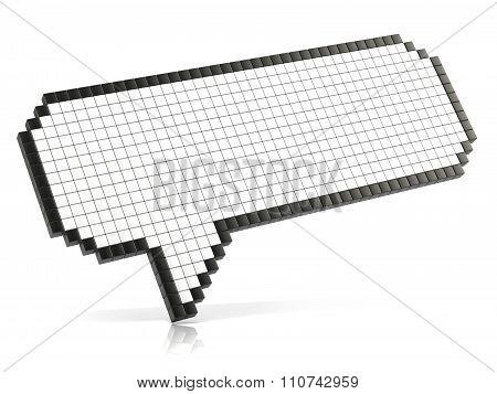 Pixel speech bubble made of glossy cubes. 3D render