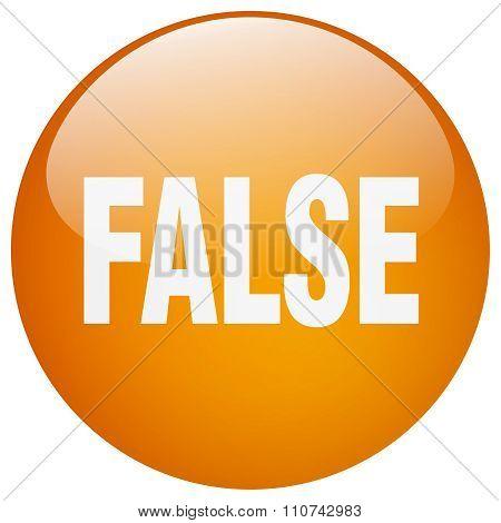 False Orange Round Gel Isolated Push Button