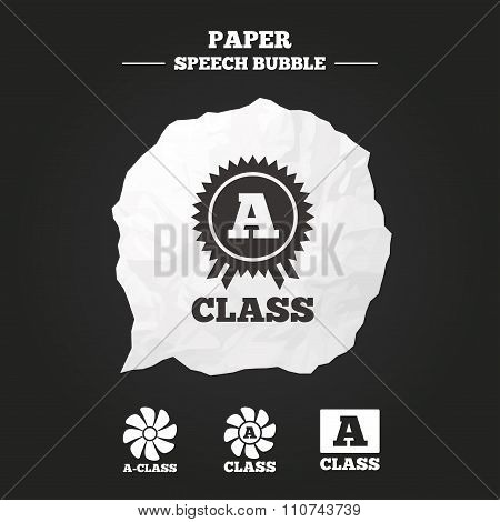 Premium level award icons. A-class ventilation.