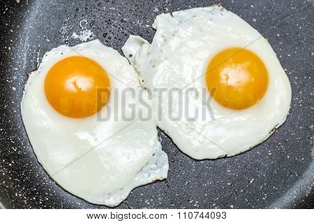 Fried eggs in the frying pan.